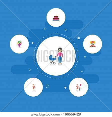 Happy Mother's Day Flat Icon Layout Design With Woman, Pastry And Stroller Symbols
