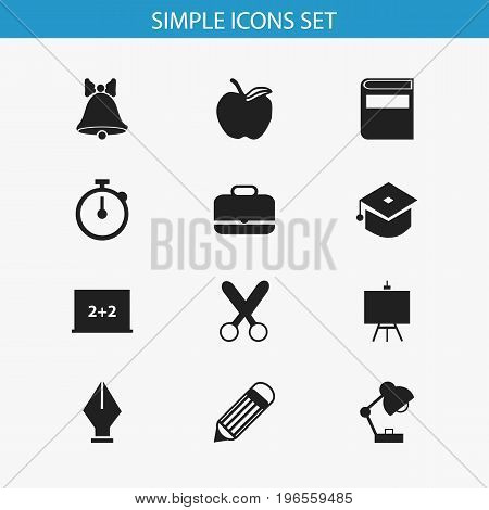 Set Of 12 Editable School Icons. Includes Symbols Such As Painter's Stand, Apple , Lighting