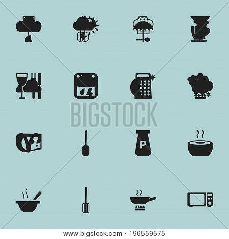 Set Of 16 Editable Cook Icons. Includes Symbols Such As Prepare Meal, Cheddar, Powdered And More