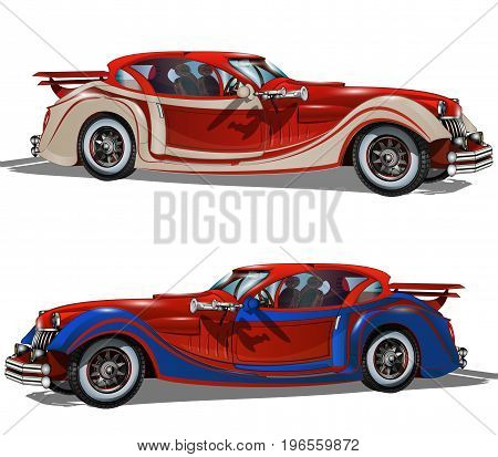 The retro cars on a white background