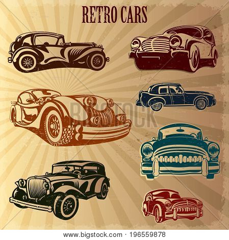 The sets of silhouette a retro cars