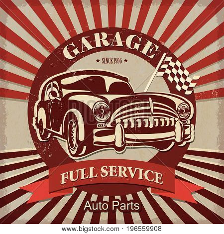 The vintage garage full service retro poster