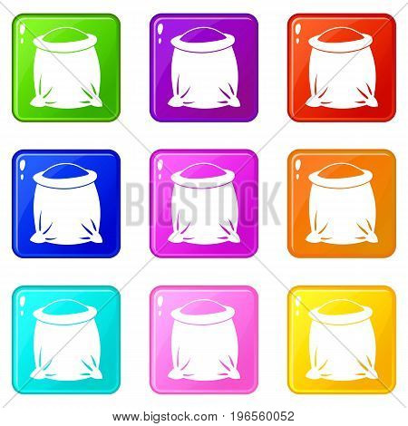 Sack full of flour icons of 9 color set isolated vector illustration