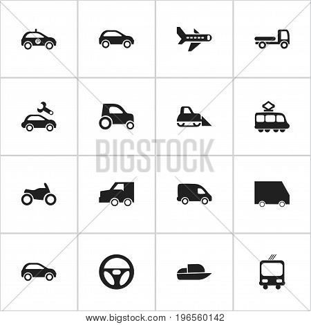Set Of 16 Editable Transportation Icons. Includes Symbols Such As Transportation, Motorbike, Part Of Car And More