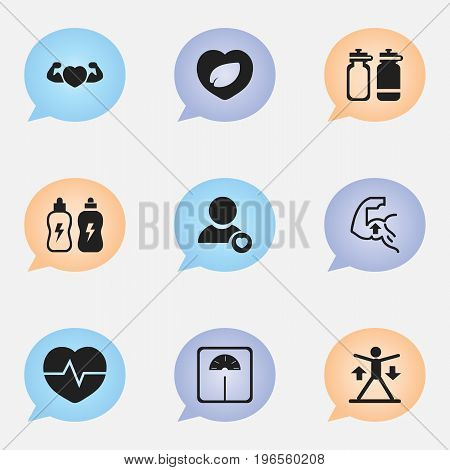 Set Of 9 Editable Exercise Icons. Includes Symbols Such As Strong Love, Heartbeat, Profile And More