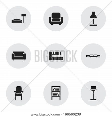 Set Of 9 Editable Furniture Icons. Includes Symbols Such As Recliner, Stool, Lamp And More