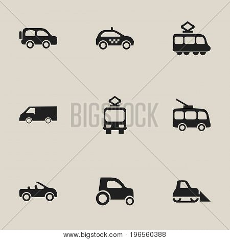 Set Of 9 Editable Transport Icons. Includes Symbols Such As Omnibus, Tractor, Carriage And More