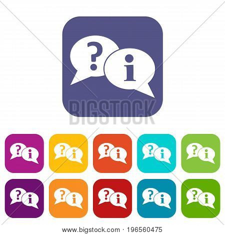 Question and exclamation speech bubbles icons set vector illustration in flat style in colors red, blue, green, and other
