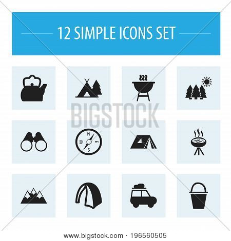 Set Of 12 Editable Camping Icons. Includes Symbols Such As Bbq, Barbecue, Kettle And More