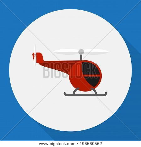 Vector Illustration Of Car Symbol On Helicopter Flat Icon