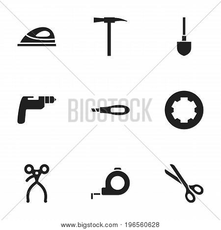 Set Of 9 Editable Tools Icons. Includes Symbols Such As Screw Head, Pickaxes, Spade And More