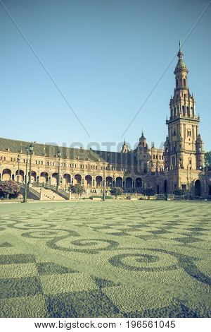 The Tower In Plaza De Espana In Seville, Spain, Europe