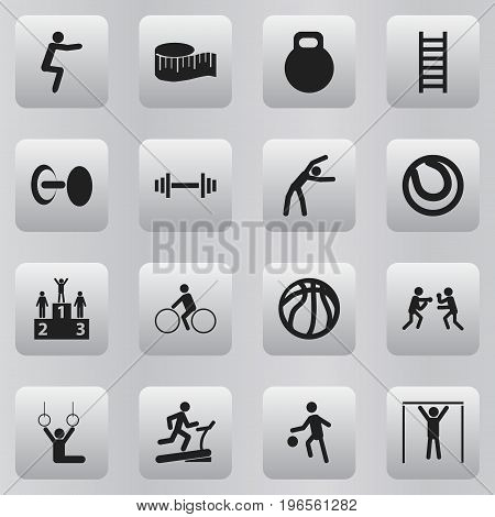 Set Of 16 Editable Sport Icons. Includes Symbols Such As Bicycle Rider, Racetrack Training, Crossbar And More