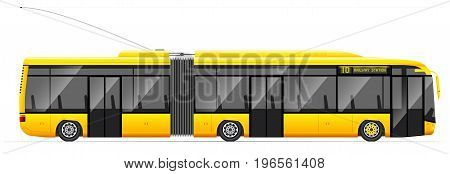 Large Articulated Trolleybus. Yellow With Modern Design. Side View. Translucent Windows.
