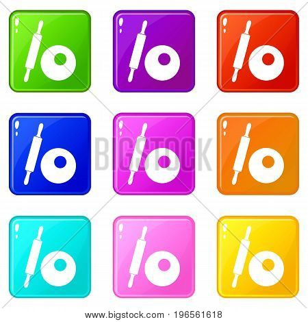 Rolling pin and dough icons of 9 color set isolated vector illustration