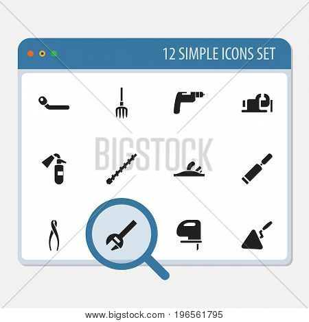 Set Of 12 Editable Equipment Icons. Includes Symbols Such As Key, Tongs, Sprinkler And More