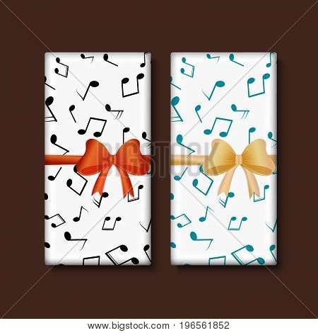 Vector set of chocolate bar package designs with musical notes and decorate bow. Editable packaging template collection.