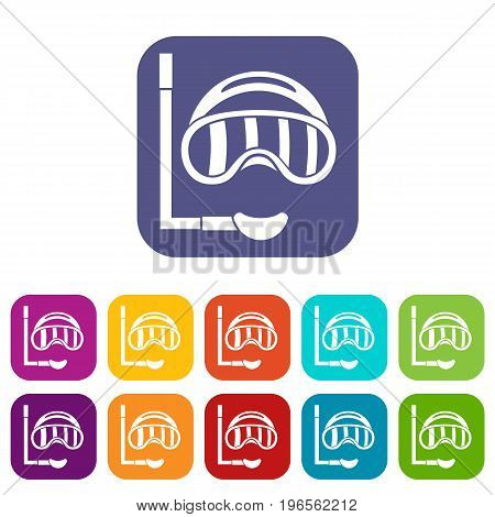 Diving mask icons set vector illustration in flat style in colors red, blue, green, and other