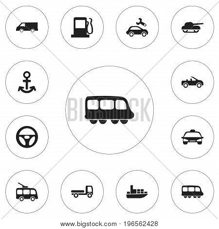 Set Of 12 Editable Shipment Icons. Includes Symbols Such As Shipping, Taxi, Carriage And More