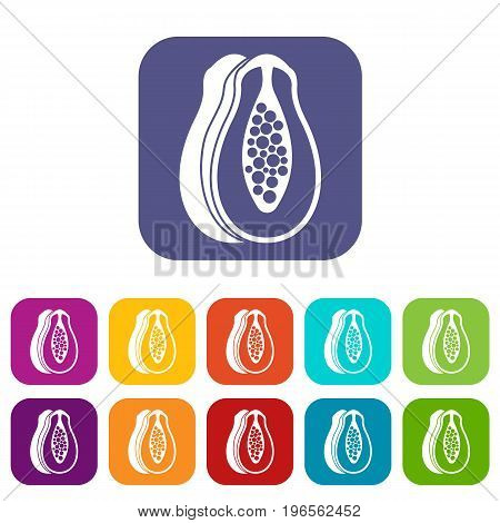 Papaya icons set vector illustration in flat style in colors red, blue, green, and other