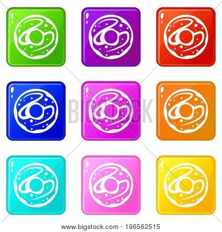 Glazed donut icons of 9 color set isolated vector illustration