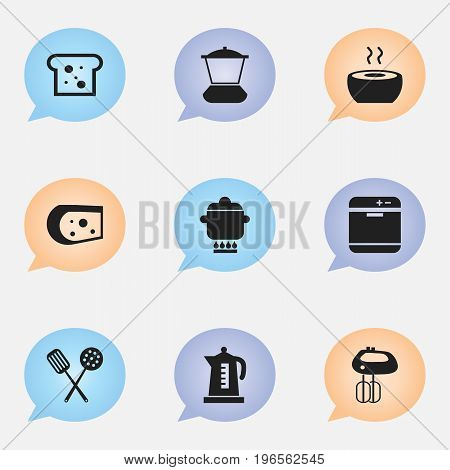 Set Of 9 Editable Cook Icons. Includes Symbols Such As Whisk, Prepare Meal, Cheddar And More