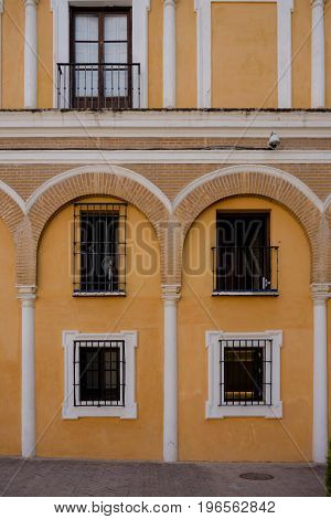 Yellow arches in Alcazar ,Seville Spain Europe