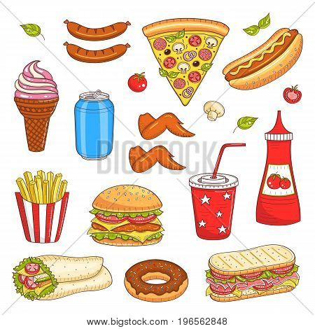 Vector set of fast food hand drawn illustration, with burger, hot dog, pizza, sandwiches, hamburger, soda cup, ice cream, French fries, soda can, donut, coffee cup, ketchup isolated on white
