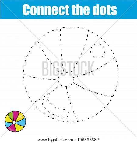 Connect the dots. Children educational game. Printable worksheet activity. Handwriting practice. Printable worksheet. Activity for pre school age. Coloring page