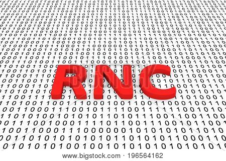 RNC in the form of binary code, 3D illustration