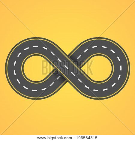 Road infinity on an orange background background. The road from the eight. The carriageway. Vector illustration