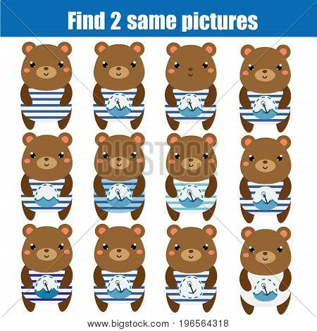 Find the same pictures children educational game. Find equal pairs of bears kids activity. Animals theme
