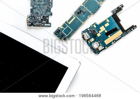 Daignostic of gadgets. White background top view.