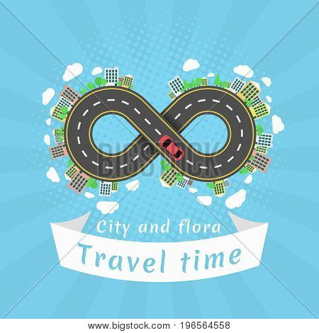 Infinity road. Travel time. Cartoon red car. The carriageway. Halftone effect with rays. Banner of white ribbon. Cities and settlements. Trees and plants. Vector illustration