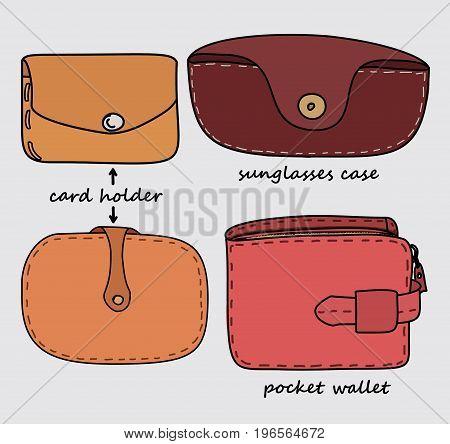 CARD HOLDER, SUN GLASSES CASE AND POCKET WALLET SET ILLUSTRATION VECTOR