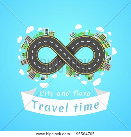 Infinity road. Travel time. A cartoon red car. The carriageway. Banner of white ribbon. Cities and settlements. Trees and plants. Vector illustration