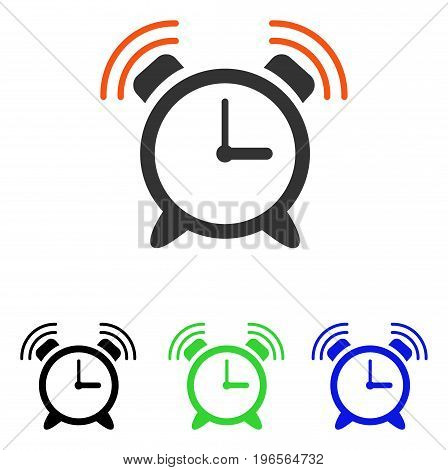 Alarm Clock Ring vector pictogram. Illustration style is a flat iconic colored symbol with different color versions.