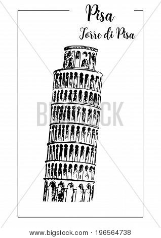 Leaning Tower of Pisa bell tower. Pisa architectural symbol. Beautiful hand drawn vector sketch illustration. Italy. For prints textile advertising City panorama tourism postcard