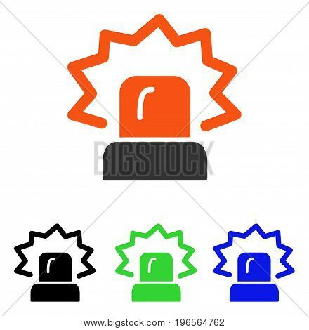Alarm vector icon. Illustration style is a flat iconic colored symbol with different color versions.
