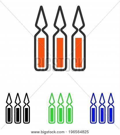Ampoules vector pictograph. Illustration style is a flat iconic colored symbol with different color versions.
