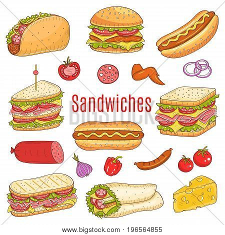 Vector hand drawn illustration of different types of sandwiches, burger, hot dog, club sandwich, taco, hamburger, panini, wrap sandwich isolated on white background, , sketch style.