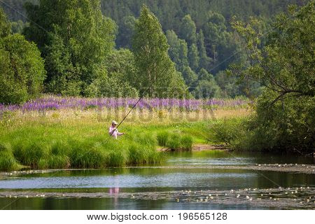 Fishing on the lake with lilies in rural location. A fisherman catches a fish. On a Sunny summer day. Bright green grass and trees. Purple wild flowers in a field. Beautiful natural landscape.