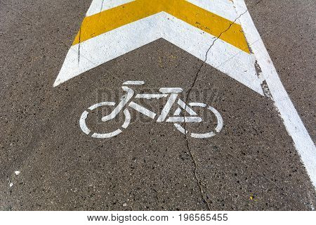 Photo of bike path marking on asphalt
