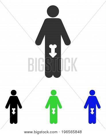 Male Impotence vector icon. Illustration style is a flat iconic colored symbol with different color versions.