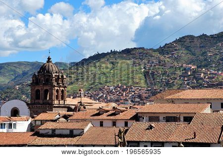 Typical colonial architecture in the city of Cusco, Peru