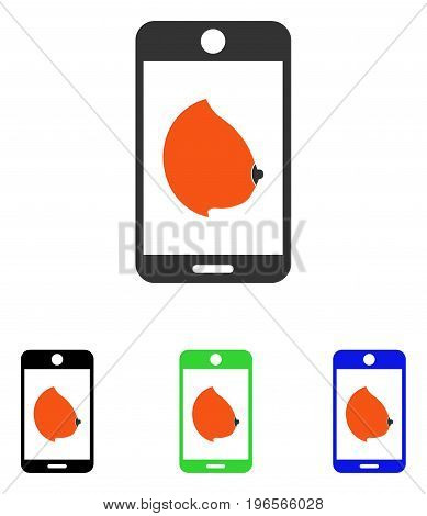 Mobile Erotic Tit vector pictogram. Illustration style is a flat iconic colored symbol with different color versions.