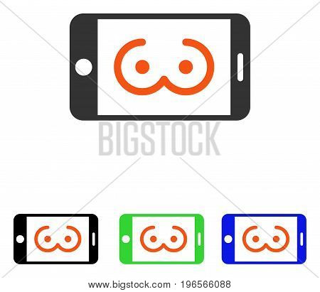 Mobile Female Erotics vector pictograph. Illustration style is a flat iconic colored symbol with different color versions.