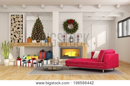 Living Room With Christmas Decorations