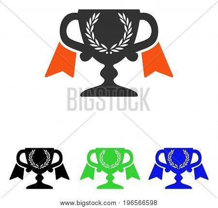 Award Cup vector pictogram. Illustration style is a flat iconic colored symbol with different color versions.