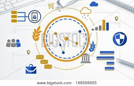 Cloud computing and networking concept icons on screen